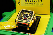 Invicta Tonneau S1 Rally Chrono Black Genuine Leather SWISS MADE Watch W/1 Slot