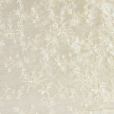 James Hare Embroidered Dupion in Champagne 100% Pure Silk Fat Quarter 50cmx55cm