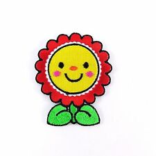 Embroidered Iron On Patch Flower Smile Lovely Sun Decor Cute Fabric Craft DIY