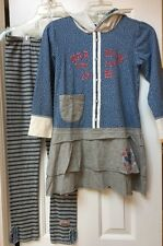 NWOT Naartjie Blue Gray Hooded Tunic Top Dress Striped Legging Pants 9 XXXL