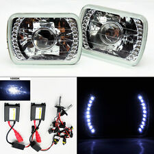 "7X6"" 10K HID Xenon Clear Projector LED DRL Glass Headlight Conversion FORD"