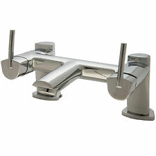 Chrome Bath Filler Mixer Tap Modern Bathroom Double Lever 2 Hole Designer Set