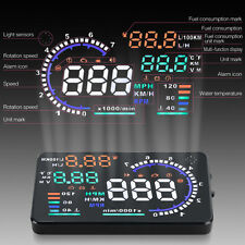 "5.5"" W02 Car HUD Head Up Display OBD II Fuel Speedometer Speed Warning Projector"