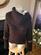 Morgan De Toi Brown Chunky Knit Feather Shawl Collar Wool Sweater S Small T2