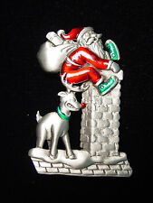 """JJ"" Jonette Jewelry Silver Pewter 'RUDOLPH Helping Santa Up Chimney' Pin"