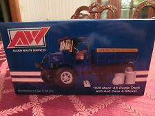 "FIRST GEAR 1/34 SCALE MACK AK ""ALLIED WASTE SERVICES"" DUMP TRUCK W/CANS & SHOVEL"