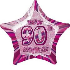 """20"""" Pink Happy 90th Birthday Prismatic Foil Helium Balloon Party Decorations"""
