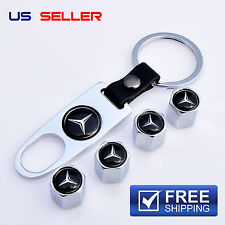 MERCEDES-BENZ VALVE STEM CAPS + KEYCHAIN WHEEL TIRE CHROME - US SELLER VS14