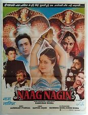 INDIAN VINTAGE OLD BOLLYWOOD MOVIE POSTER-NAAG NAGIN/MANDAKINI RAJIV KAPOOR
