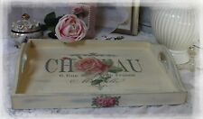 "Vintage~Wooden~Decorative~Serving~Tray~Shabby~Chic~""Chateau Rue""~Breakfast~Plate"