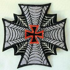 IRON CROSS SPIDER WEB EMBROIDERED PATCH P167  Ironon biker JACKET patches NEW