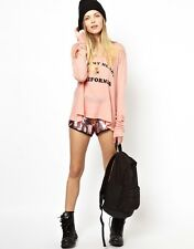 WILDFOX I LEFT MY HEART IN CALIFORNIA CORAL LONG SLEEVE CROP TEE TOP M 12 8 40!