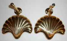 Vintage Nautical Sea Shell Solid Brass Metal Drapery Curtain Tie Backs Set of 2