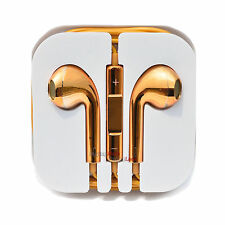 Gold Chrome Headphones Earbud Earphones Volume Control Mic iPhone 6 6S Plus 5 5S
