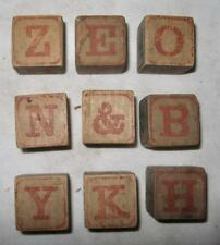 9 Antique Childs Childrens Wooden Alphabet Picture Blocks Victorian (O2) AS IS 6