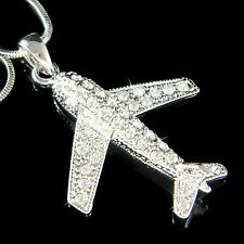 w Swarovski Crystal ~AIRPLANE aircraft Pilot Aviator plane Flight Charm Necklace