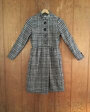 Vtg 60s Secretary Black White Houndstooth Wool Mod Dress Jane Justin S