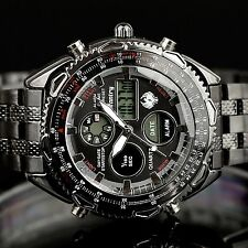 INFANTRY Mens LCD Digital Analog Watch Stopwatch Military Black Stainless Steel