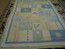 Cute Multi-Color Applique & Embroidered Flowers Quilt