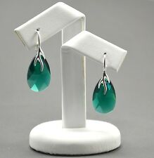 925 Silver Earrings made with  Swarovski Crystals 22mm PEAR -Emerald