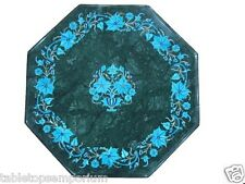 """15"""" Green Marble Rare Turquoise Foyer Table Coffee Top Paua Shell Decor Gifts"""