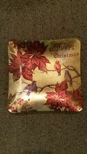 """ZODAX GLASS CHRISTMAS PLATE GOLD BACKING NEW OLD STOCK 8.25"""" SQUARE"""