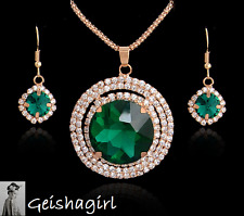 Art Deco Gold Filled CZ Emerald Gem Pendant Necklace Earrings Set UK Seller