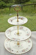 Minton English Bone China Marlow Pattern S309 3 Tier Cake Stand Floral Sprays