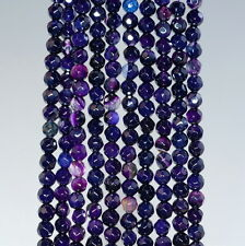 4MM  AGATE GEMSTONE DARK PURPLE FACETED ROUND LOOSE BEADS 15""