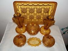 STUNNING VINTAGE ART DECO BAGLEY RUTLAND BROWN GLASS DRESSING TABLE SET