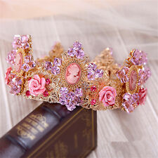 Wedding Bridal Purple Full Tall Pageant Crown Queen Tiara Rhinestone Headband
