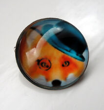 ZP424 Unusual Domed Fox Hat Eye Monocle Pin Badge Brooch Cabochon