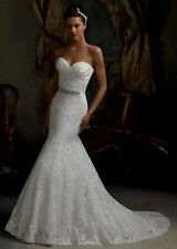 UK Lace White/Ivory Mermaid Wedding Dress Bridal Gown size 6--16