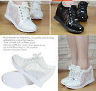 Womens Fashion Wedge Heel Lace Up Mesh Rhinestone Sneakers Trainer Boots Shoes
