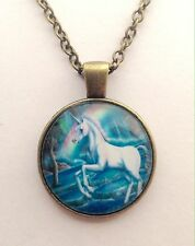 "UNICORN WITH A RAINBOW  PICTURE PENDANT IN BRONZE 16 - 24"" CHAIN WITH GIFT BAG"