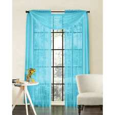 "Sheer Voile 2-Piece Turquoise Blue Curtain Panel Solid Window Treatment 84"" Long"