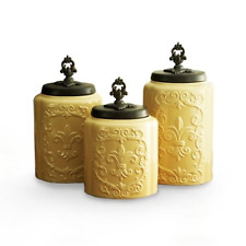 American Atelier Antique Canisters Set of 3, Cream