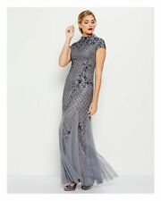 NEW ADRIANNA PAPELL Illusion Yoke Lace Gown Color Gray Size 10
