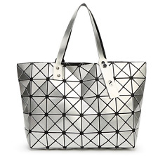 High Quality BAO BAO Issey Miyake Metallic Silver TOTE Bag  NEW