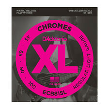D'Addario ECB81SL XL Chromes Flat Wound Bass Guitar Strings 45-100 Super Long