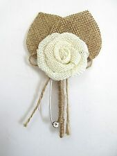 Boutonniere Burlap Pin Brooch Groom Mens Wedding Accessories Ready Made