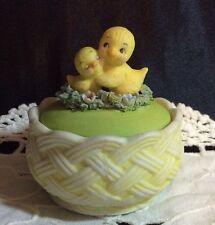 Anthropomorphic? Trinket Box Bluebird Chalk Ware Vtg Decorative Collectible