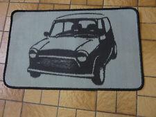 Retro Mini car short pile rug / mat non slip gel back grey black brand new