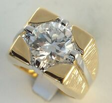 5 carat simulated white sapphire mens ring 18K yellow gold overlay size 8