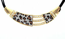 eSmart Women's Gold Leopard Print Leather Strip Fashion Jewelry Necklace
