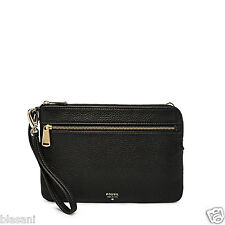 Fossil Original SL6777001 Black Large Zip Wristlet Leather Women's Wallet