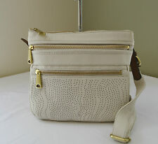 Fossil Coconut White Perforated Leather Explorer Crossbody