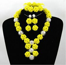 Yellow 1 Layers Balls African Beads Bridal Wedding Party Jewelry Set