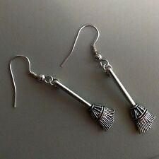 Broom Dangle Drop Halloween Earrings, Witchy Witch, Quirky Cool Retro Jewellery