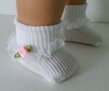 """White Socks + Lace + Pink Rose for 15"""" 18"""" American Girl Doll & Preemie Baby"""